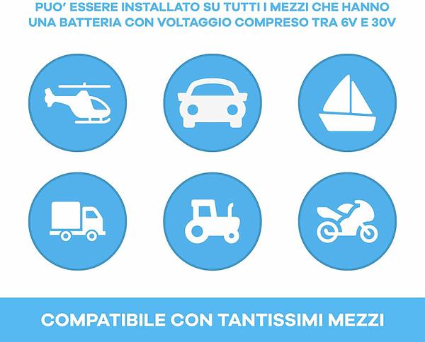 Compatibile con tutti i mezzi da 6V a 30V